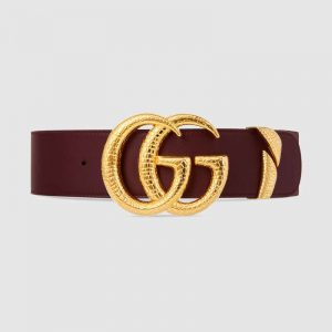 Gucci Unisex Leather Belt with Double G Buckle in Burgundy Leather