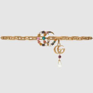 Gucci Women Chain Belt with Crystal Double G Buckle in Gold-Toned Chain