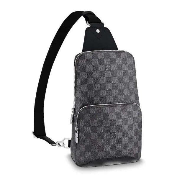 Louis Vuitton LV Men Avenue Sling Bag in Coated Damier Graphique Canvas-Grey