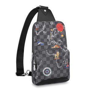 Louis Vuitton LV Men Avenue Sling Bag in Damier Graphite Coated Canvas-Grey