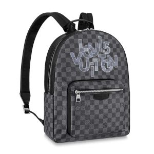 Louis Vuitton LV Men Josh Backpack Bag in Damier Graphite Coated Canvas-Grey