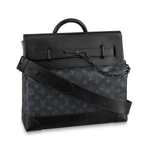 Louis Vuitton LV Men Steamer PM Bag in Monogram Eclipse Coated Canvas-Black