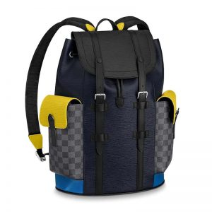 Louis Vuitton LV Unisex Christopher Backpack PM in Cowhide Leather-Navy