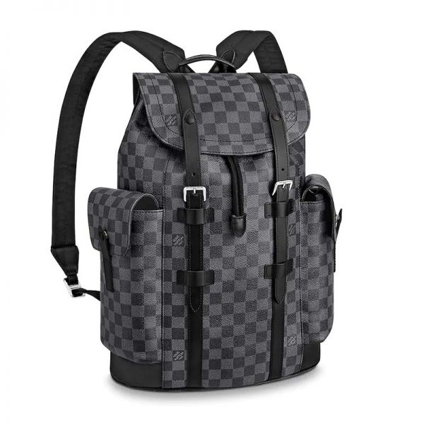 Louis Vuitton LV Unisex Christopher PM Backpack in Damier Graphite Canvas-Grey