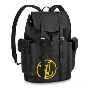 Louis Vuitton LV Unisex Christopher PM Backpack in Timeless Black Epi Leather-Black