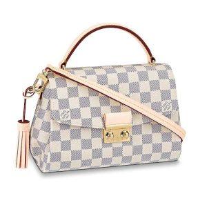Louis Vuitton LV Women Croisette Handbag in Damier Azur Coasted Canvas-Sandy