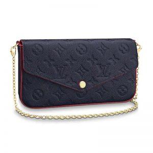 Louis Vuitton LV Women Félicie Pochette Bag in Monogram Empreinte Leather-Navy