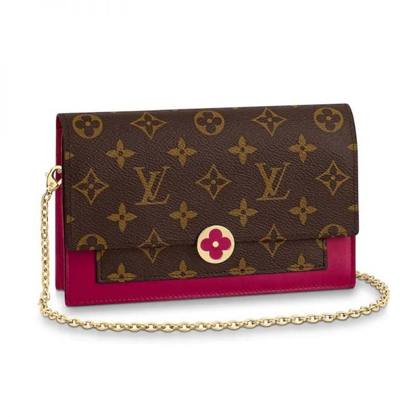Louis Vuitton LV Women Flore Chain wallet in Monogram Coated Canvas and Calf Leather-Rose