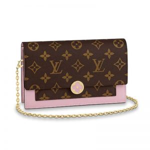 Louis Vuitton LV Women Flore Chain wallet in Monogram Coated Canvas and Calf Leather-Pink