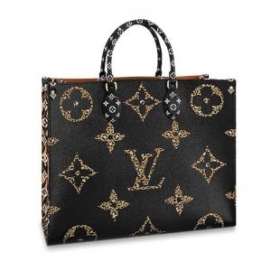 Louis Vuitton LV Women Onthego Tote Bag in Monogram Coated Canvas-Black