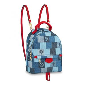 Louis Vuitton LV Women Palm Springs Mini Backpack in Monogram Denim Canvas-Blue
