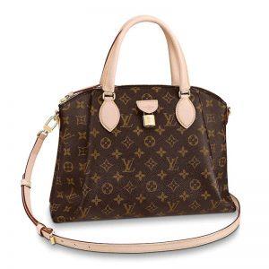 Louis Vuitton LV Women Rivoli MM Handbag in Monogram Coated Canvas-Brown