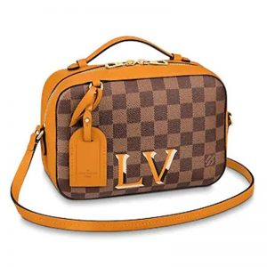 Louis Vuitton LV Women Santa Monica Bag in Damier Ebene Coated Canvas-Orange