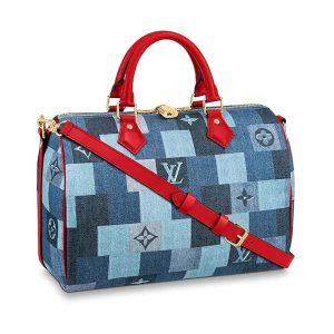 Louis Vuitton LV Women Speedy Bandoulière 30 Bag in Monogram Denim Canvas-Blue