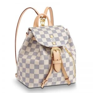 Louis Vuitton LV Women Sperone BB Backpack in Damier Azur Canvas-Beige