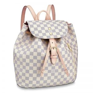 Louis Vuitton LV Women Sperone Backpack in Damier Azur Canvas-Beige