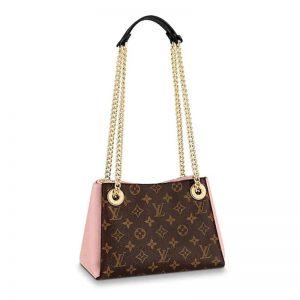Louis Vuitton LV Women Surene BB Handbag in Monogram Canvas and Grained Calf Leather-Pink