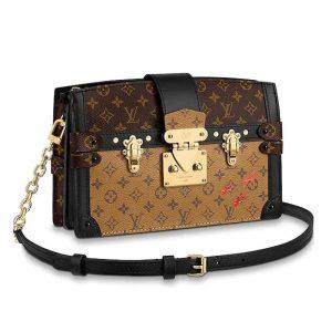Louis Vuitton LV Women Trunk Clutch Handbag in Monogram and Monogram Reverse Canvas