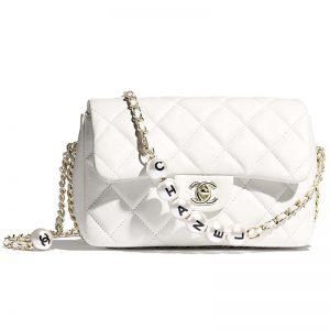 Chanel Women Flap Bag Lambskin Imitation Pearls & Gold-Tone Metal