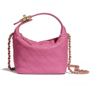 Chanel Women Small Hobo Bag in Lambskin & Gold Metal-Pink