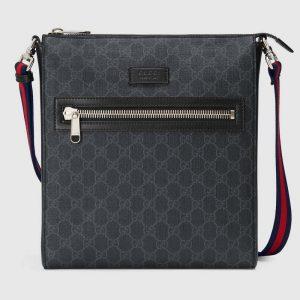 Gucci GG Men GG Black Messenger Bag Supreme Canvas-Grey