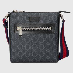 Gucci GG Men GG Black Small Messenger Bag Supreme Canvas
