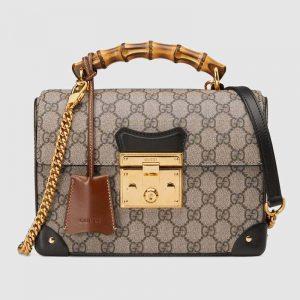 Gucci GG Women Padlock GG Small Bamboo Shoulder Bag Beige