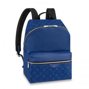 Louis Vuitton LV Unisex Discovery Backpack PM Monogram Canvas Taiga Leather-Blue