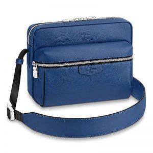 Louis Vuitton LV Unisex Outdoor Messenger PM Taiga Cowhide Leather-Blue