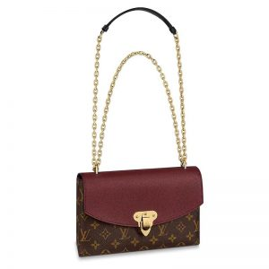 Louis Vuitton LV Women Saint-Placide Chain Bag in Monogram Canvas-Maroon