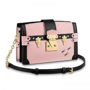 Louis Vuitton LV Women Trunk Clutch Handbag in Supple Epi-Pink