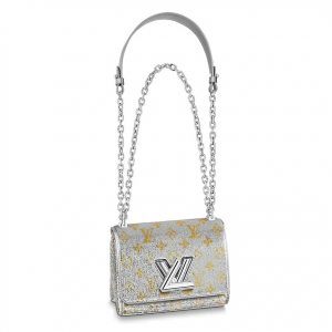 Louis Vuitton LV Women Twist PM Handbag in Sequin-Embroidered Leather-Silver