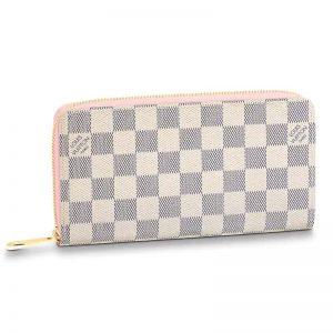 Louis Vuitton LV Women Zippy Wallet Damier Azur Canvas-Pink