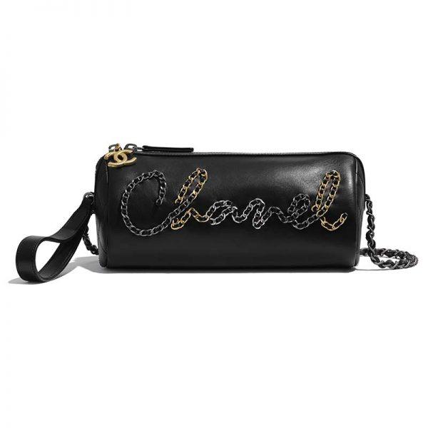 Chanel Women Bowling Bag in Calfskin Gold Silver Tone Metal-Black