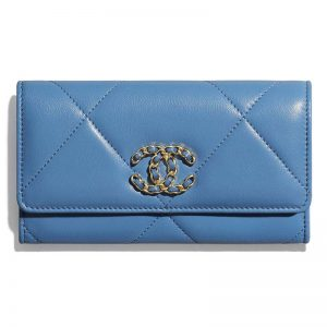 Chanel Women Chanel 19 Flap Wallet Shiny Lambskin Leather-Blue