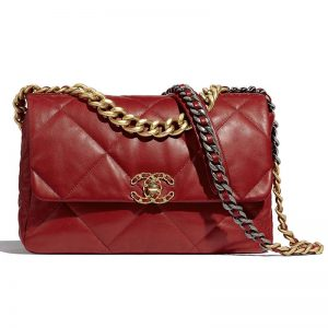 Chanel Women Chanel 19 Large Flap Bag Goatskin Leather-Red