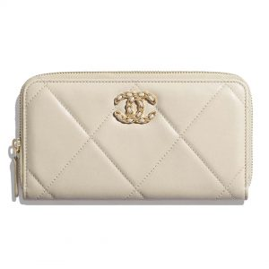 Chanel Women Chanel 19 Long Zipped Wallet Lambskin Leather-Beige