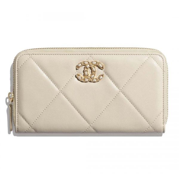 Chanel Women Chanel 19 Long Zipped Wallet Lambskin Leather-Beige