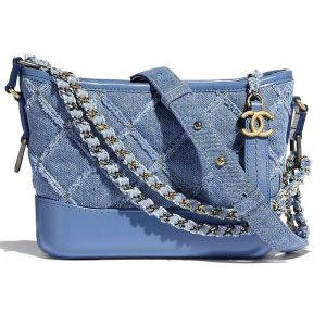 Chanel Women Chanel's Gabrielle Small Hobo Bag Denim Calfskin-Blue