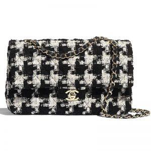 Chanel Women Classic Handbag in Tweed & Gold-Tone Metal-Black