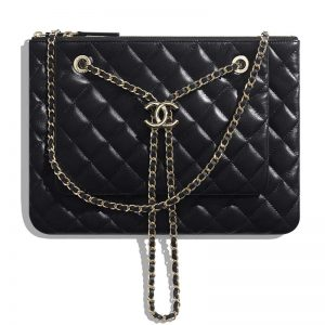 Chanel Women Clutch with Chain in Shiny Lambskin Leather-Black