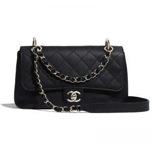 Chanel Women Flap Bag Grained Calfskin & Gold-Tone Metal-Black