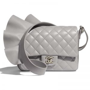 Chanel Women Flap Bag Lambskin Calfskin & Gold-Tone Metal-Grey