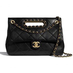 Chanel Women Flap Bag Lambskin Leather Gold-Tone Metal-Black