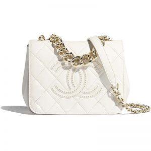 Chanel Women Flap Bag Lambskin Studs & Gold-Tone Metal-White