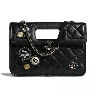 Chanel Women Flap Bag in Aged Calfskin Leather-Black