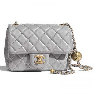 Chanel Women Flap Bag in Lambskin Leather-Grey