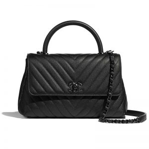 Chanel Women Flap Bag with Top Handle Grained Calfskin-Black