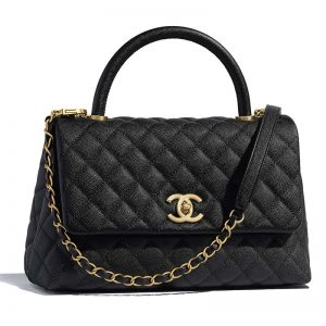 Chanel Women Flap Bag with Top Handle in Grained Calfskin-Black
