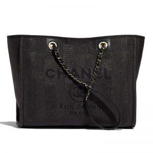 Chanel Women Large Shopping Bag in Mixed Fibers-Black